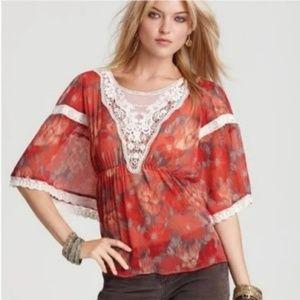 Day Dreamer M Top Red Boho Crochet Lace DAYDREAMER